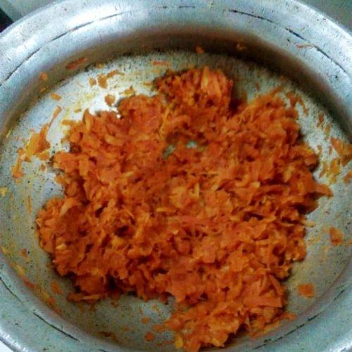 Carrot Halwa cooking process